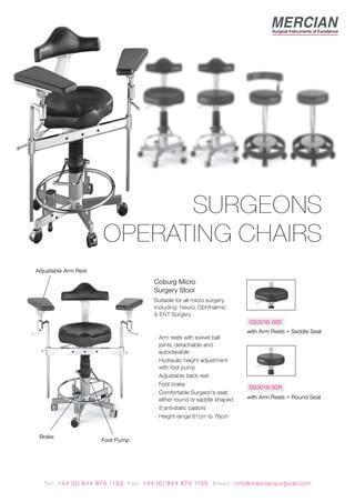 Mercian Surgeons Operating Stools brochure
